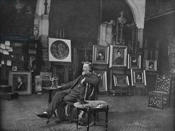 Frederic Leighton, portrait photograph by J.P. Mayall in the 'Artists at Home' series, 1884 (b/w photo)