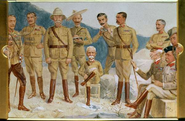 Cartoon of British leaders in the Boer War, Field Marshal Sir Frederick Sleigh Roberts (1832-1914) With His Boot on a Portrait of Paul Kruger (1825-1924) Cartoon of British leaders in the Boer War (w/c on paper)