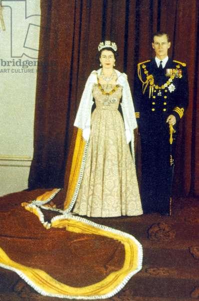 Queen Elizabeth II with Prince Philip Coronation portrait, 1952 (photo)