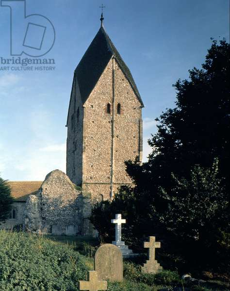 View of the tower, Church of St. Mary, Sompting, West Sussex, (photo)