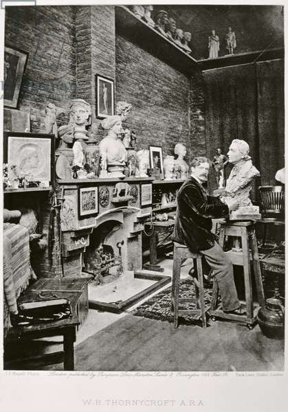 W. Hamo Thornycroft, sculptor, portrait photograph by J.P. Mayall in the 'Artists at Home' series, 1884 (b/w photo)