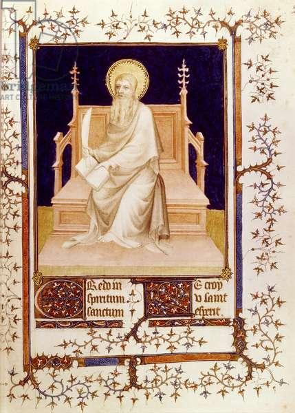 Ms Fr 13091 f.22 St. Bartholomew, from the Psalter of Jean, Duke of Berry, c.1386 (vellum)