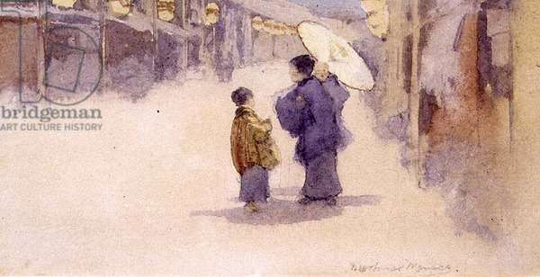 Japanese Figures with a Parasol (w/c on paper) (pair of 89602)