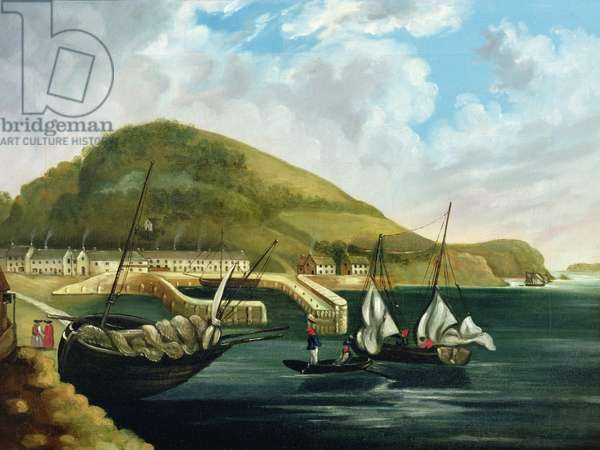 The Harbour, Torquay, c.1780 (oil on canvas) (pair of 89621)