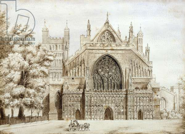 Exeter Cathedral, West Front (w/c on paper)