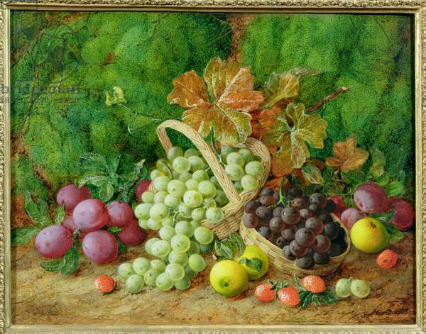Still Life with Plums, Apples and Baskets of Grapes (oil on canvas) (pair of 89393)