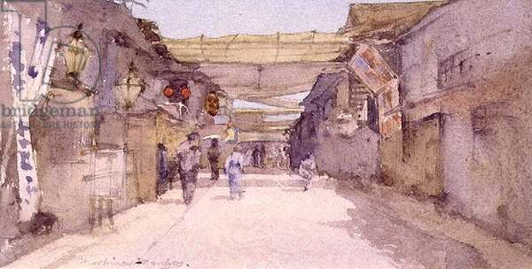 Japanese Street Scene (w/c on paper) (pair of 89601)