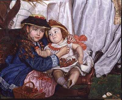 Lady Fairbairn with her Children, detail of Constance and James, 1864 (oil on canvas) (detail of 89611)