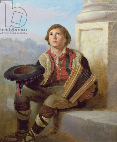 Boy with an Accordion (oil on canvas) (pair of 89634)