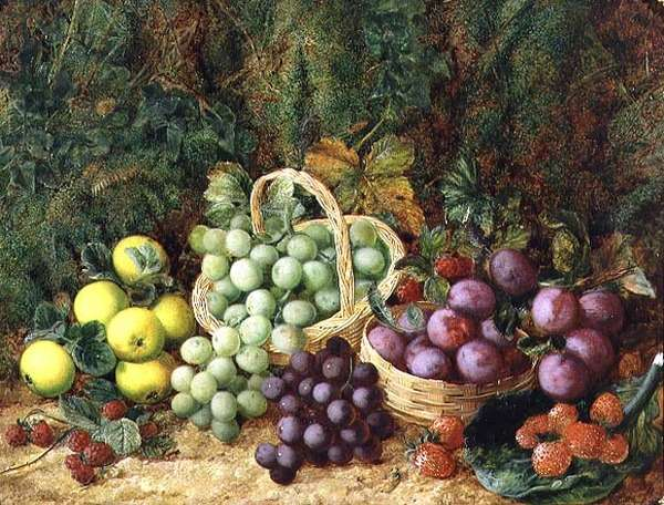 Still Life with Apples and Baskets of Grapes and Plums (oil on canvas) (pair of 89392)