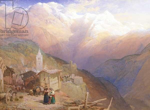Valley of St. Nicolas, Monte Rosa Range, c.1854 (w/c & gouache on paper)