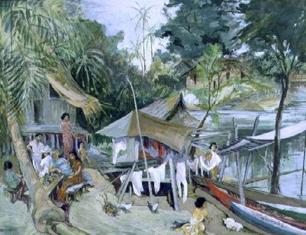 Village in the Seychelles, c.1950 (gouache on paper)