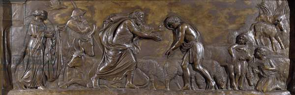 The Return of the Prodigal Son (bronze relief)