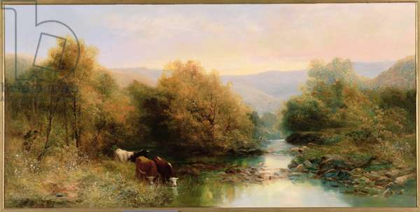 Cattle on the Dart in Autumn (oil on canvas)
