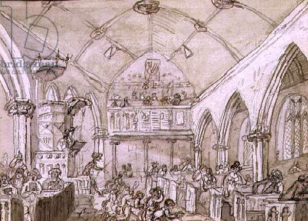 Congregation, St. Mary's Church, c.1812 (ink & sepia wash on paper)