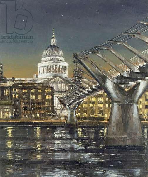 St Paul's and the Millennium Bridge, 2004 (oil on canvas)