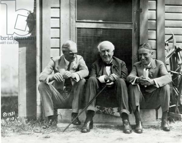 Henry Ford (1863-1947), Thomas A. Edison (1847-1931) and Harvey S. Firestone (1868-1938) on doorstep of Edison's laboratory at Fort Myers, March 15th 1931 (b/w photo)