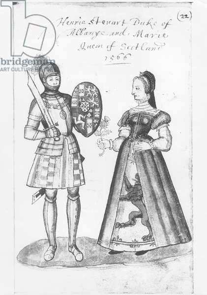 Henry Stewart (1545-66) the Duke of Albany and Mary Queen of Scots (1542-87) (pen & ink and watercolour) (b/w photo)