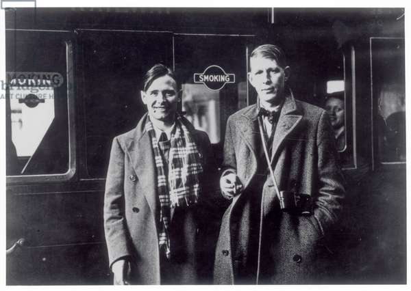 W.H. Auden (1907-73) and Christopher Isherwood (1904-86) in 1938 about to leave for China (b/w photo)