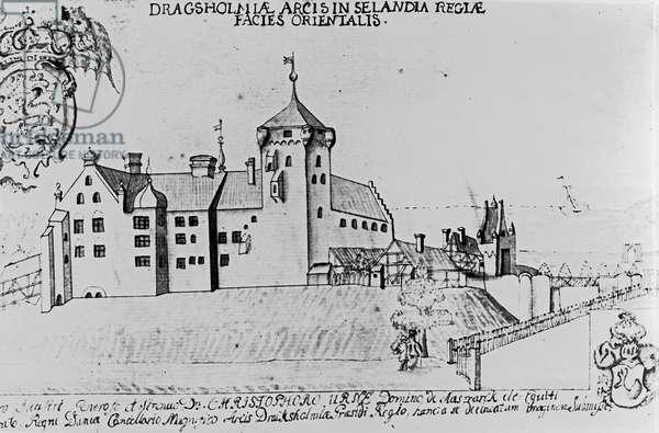 Dragsholm Castle, Sealand (pen and ink on paper)