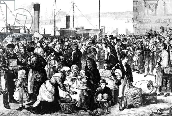 Irish Emigrants Leaving Queenstown Harbour, illustration from 'The Illustrated London News', September 5 1874 (engraving)