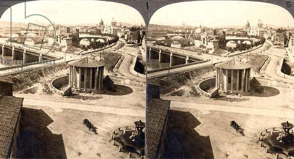 The Temple of Vesta and the River Tiber, Rome, a stereoscopic view (sepia photo)