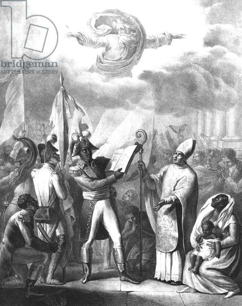 Francois Dominique Toussaint L'Ouverture (c.1743-1803) declaring the Constitution of the Republic of Haiti, 1st of July 1801 (engraving) (b/w photo)