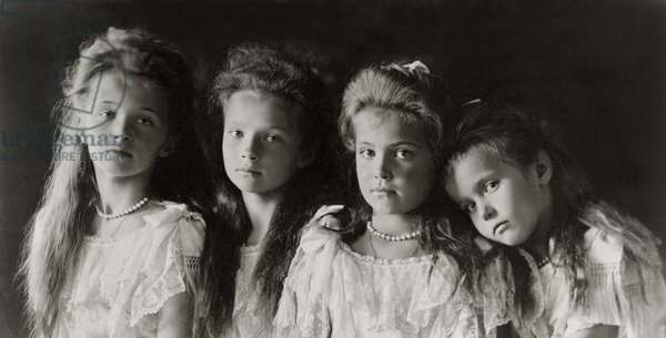 The Daughters of Tzar Nicholas II (b/w photo)