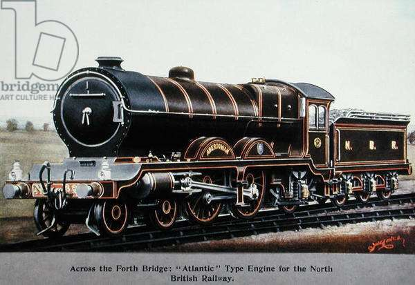 Across the Forth Bridge: 'Atlantic' Type Engine for the North British Railway, illustration from 'Locomotives of the World' by J.R. Howden (colour litho) published 1910