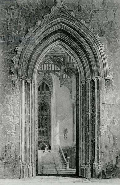 The Great Western Hall Leading to the Grand Saloon, or Octagon, Fonthill Abbey, 1824 (engraving) (b/w photo)