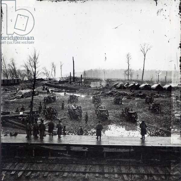 Confederate Batteries at Johnsonville, Tennessee, November 1864 (b/w photo)