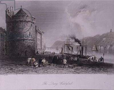 The Quay at Waterford City, with Reginald's Tower, 19th century (litho)