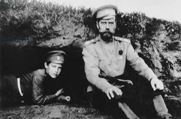 Tsar Nicholas II with his son Alexei at the front, 1916 (b/w photo)