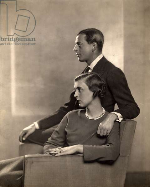 Portrait of Prince George, Duke of Kent (1902-42) and Princess Marina of Greece, Duchess of Kent (1906-68) (b/w photo)