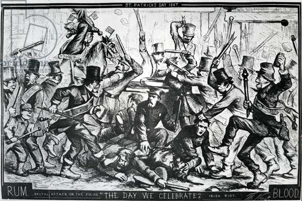 Cartoon depicting the riots in New York on St Patrick's Day 1867, published in Harper's Weekly, April 6 1867 (wood engraving)