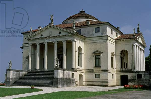 Facade of the villa, designed by Andrea Palladio (1508-80), begun c.1565-66 (photo)