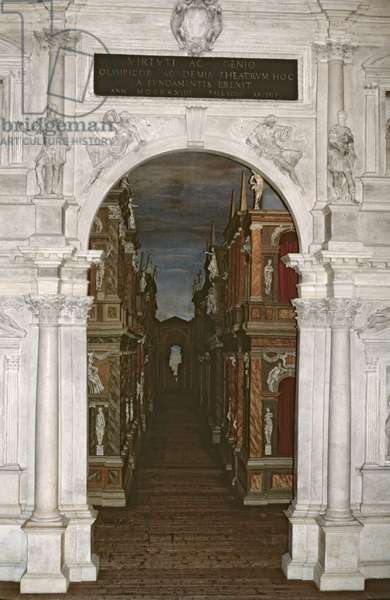 Interior of the Teatro Olympico, designed by Andrea Palladio (1508-80) 1580 (photo) (see 103509)