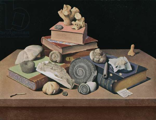"""Fossils"" February, Shell Calendar 1957, 1955 (oil on canvas)"