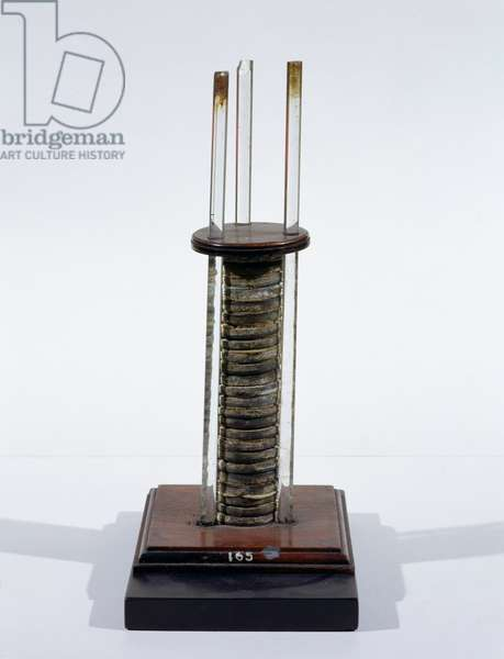 Voltaic pile (battery) given by Count Alessandro Volta to Michael Faraday in 1814