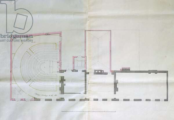 Contract drawing for the first floor of the Royal Institution, 1800 (pencil & w/c on paper)