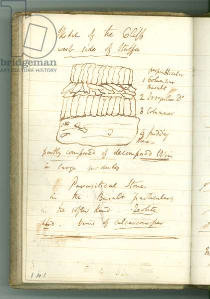 'Sketch of the Cliff west side of Staffa', page from Sir Humphry Davy's Personal Notebook (ink on paper)