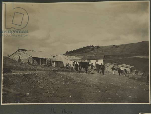 'The Mess', probably at the Sound Ranging training station set up in Vosges, 1915 (b/w photo)