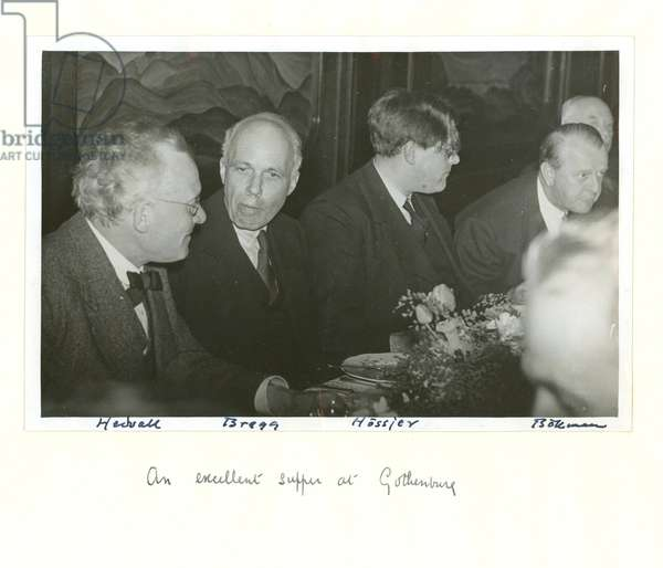 Sir Lawrence Bragg at dinner in Gothenburg with Swedish scientists, 1943 (b/w photo)