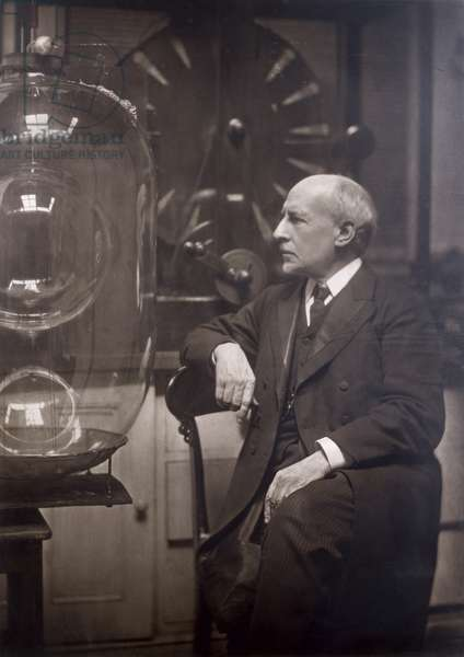 Sir James Dewar (1842-1923) Scottish chemist and physicist, portrait photograph by Olive Edis Galsworthy, c.1900 (b&w photo)