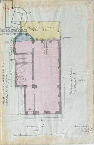 Ground plan of the Royal Institution leases, 1863 (pen & ink and w/c on paper)