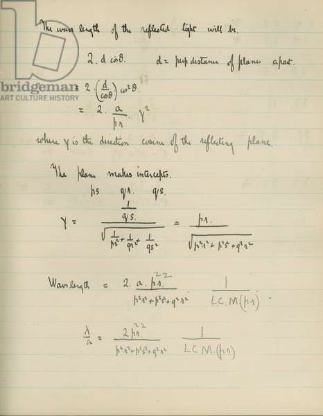 Experimental notebook belonging to Lawrence Bragg, page showing Bragg's Law, c.1912-13 (pen & ink on paper)