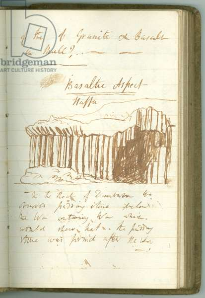 'Basaltic Aspect, Staffa', page from Sir Humphry Davy's Personal Notebook (ink on paper)