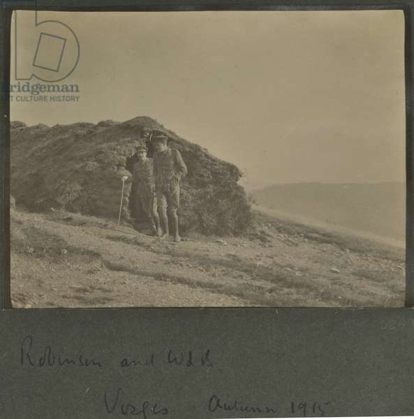 Harold Roper Robinson and William Lawrence Bragg, Vosges, Autumn 1915 (b/w photo)