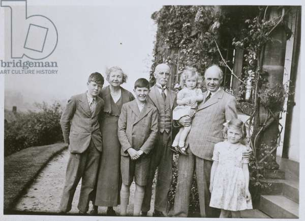William Lawrence Bragg (1890-1971) and the Caroe Family (b/w photo)