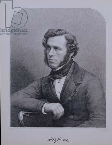 Portrait of Sir William Grove (1811-96) engraved by Bosley (litho)